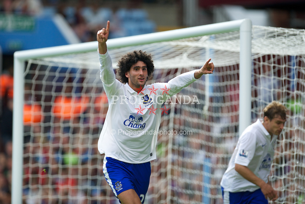 BIRMINGHAM, ENGLAND - Saturday, August 25, 2012: Everton's Marouane Fellaini celebrates scoring the second goal against Aston Villa during the Premiership match at Villa Park. (Pic by David Rawcliffe/Propaganda)