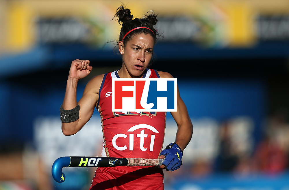 JOHANNESBURG, SOUTH AFRICA - JULY 16:  Melissa Gonzalez of United States of America celebrates her goal during day 5 of the FIH Hockey World League Women's Semi Finals Pool B match between South Africa and United States of America at Wits University on July 16, 2017 in Johannesburg, South Africa.  (Photo by Jan Kruger/Getty Images for FIH)