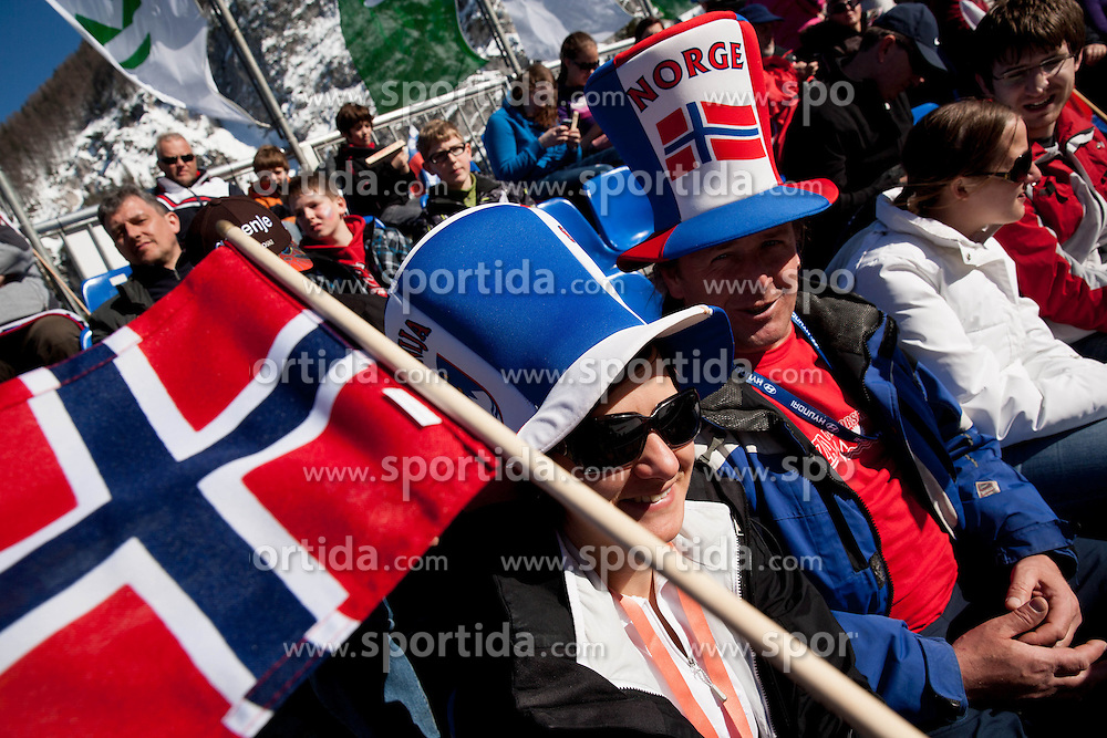 Supporters of Norway during the Flying Hill Individual Competition at 2nd day of FIS Ski Jumping World Cup Finals Planica 2013, on March 22, 2012, in Planica, Slovenia. (Photo by Vid Ponikvar / Sportida.com)