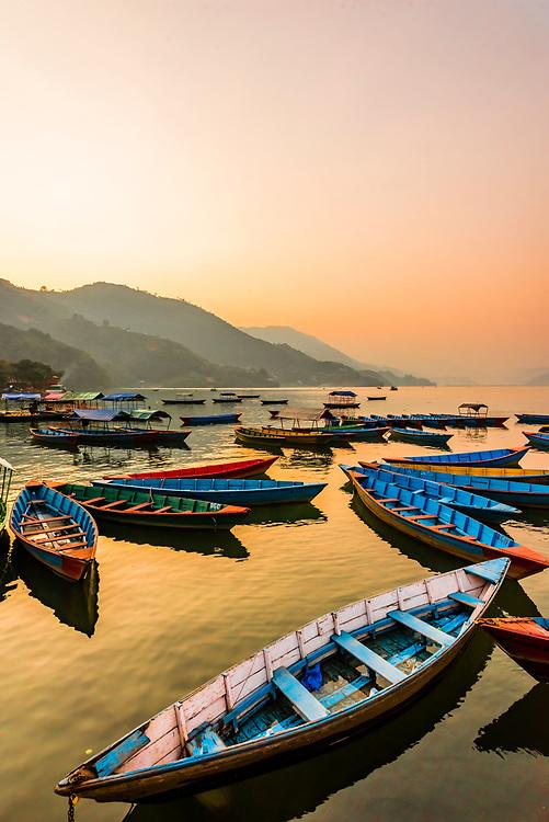 Rowboats, Phewa Lake, Pokhara, Nepal.