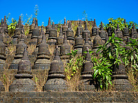 MRAUK U, MYANMAR - CIRCA DECEMBER 2017: Exterior view of the Koe Thaung Pagoda In Mrauk U, Rakhine State.