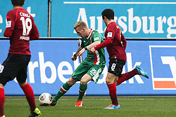01.03.2014, SGL Arena, Augsburg, GER, 1. FBL, FC Augsburg vs Hannover 96, 23. Runde, im Bild l-r: im Zweikampf, Aktion, mit Andre Hahn #28 (FC Augsburg), Manuel Schmiedbach #8 (Hannover 96) // during the German Bundesliga XXth round match between FC Augsburg and Hannover 96 at the SGL Arena in Augsburg, Germany on 2014/03/01. EXPA Pictures © 2014, PhotoCredit: EXPA/ Eibner-Pressefoto/ Kolbert<br /> <br /> *****ATTENTION - OUT of GER*****