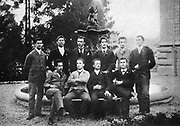 Albert Einstein (1879-1955) German-Swiss mathematician, seated left, with his graduation class at Cantonal School, Aarau, Switzerland