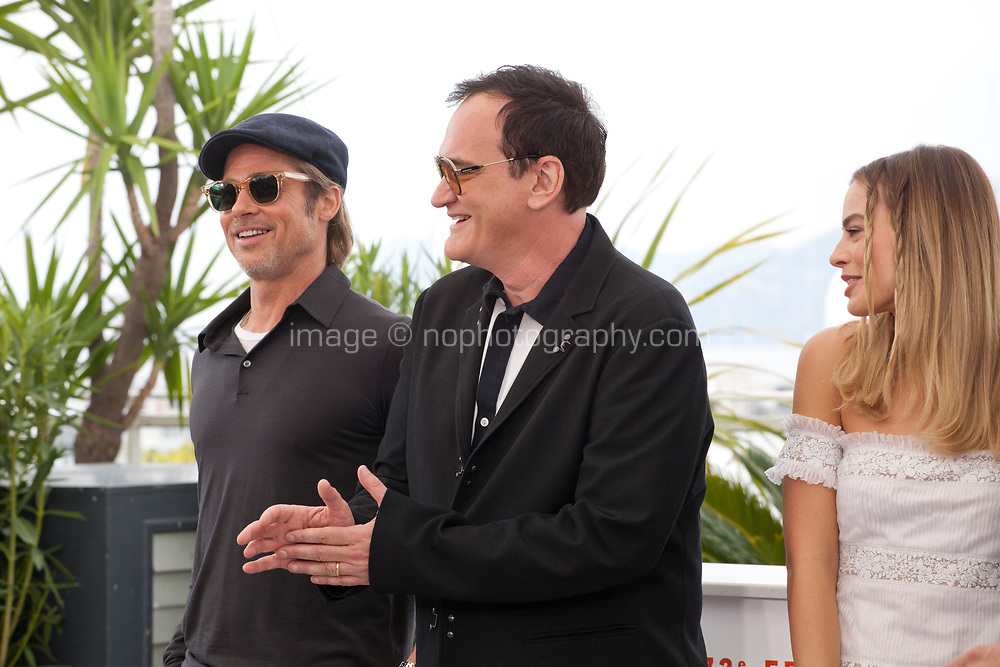 Brad Pitt, Director Quentin Tarantino, Margot Robbie at Once Upon A Time... In Holywood film photo call at the 72nd Cannes Film Festival, Wednesday 22nd May 2019, Cannes, France. Photo credit: Doreen Kennedy