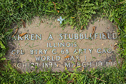 31 August 2017:   Veterans graves in Park Hill Cemetery in eastern McLean County.<br /> <br /> Warren A Stubblefield Illinois Corporal BTRY C 68 Artillery CAC World War I March 22 1893 March 19 1965