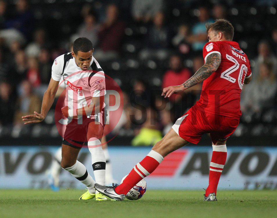 Thomas Ince of Derby County (L) and Andrew Boyce of Grimsby Town in action - Mandatory by-line: Jack Phillips/JMP - 09/08/2016 - FOOTBALL - iPro Stadium - Derby, England - Derby County v Grimsby Town - EFL Cup First Round