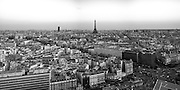 Panoramic of Paris in Black and White.  Arc de Triomphe (triumphal arch) and Eiffel tower on the scene