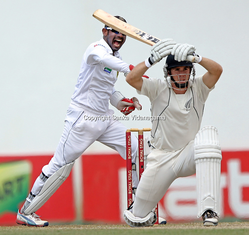 Sri Lankan wicketkeeper Prasanna Jayawardene (L) successfully appeals for a Leg Before Wicket (LBW) decision against New Zealand cricketer Todd Astle during the second day of the second and final Test match between Sri Lanka and New Zealand at the P. Sara Oval Cricket Stadium in Colombo on November 26, 2012.
