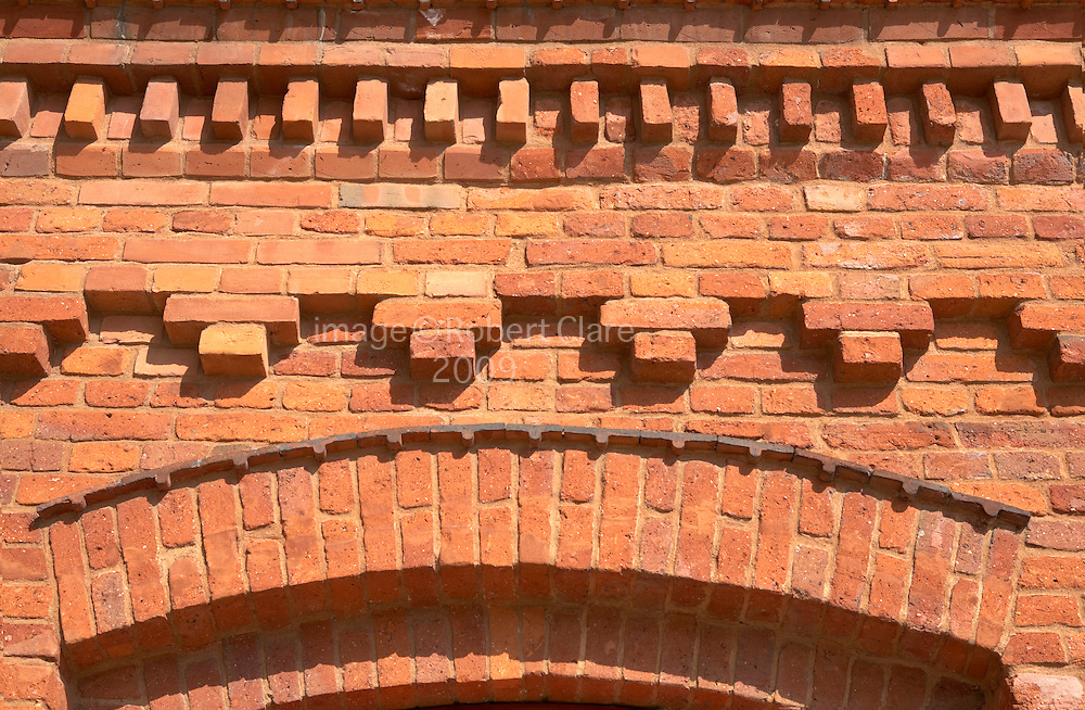 Restored brickwork at Manufactura Shopping Centre. Balucki District Lodz Poland