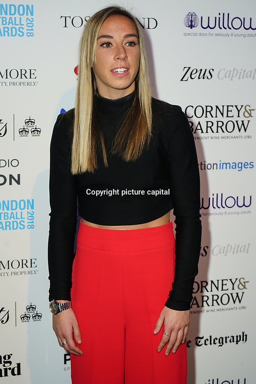 Jordan Nobbs Arrives at London Football Awards 2018 at Battersea Evolution on 1st March 2018,  London, UK.