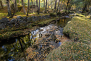 In early Autumn, a small stream rushes through the camping grounds at Covão da Ametade, in the Serra da Estrela mountain range, in Portugal.
