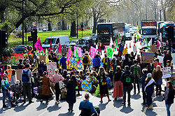 "© Licensed to London News Pictures. 15/04/2019. LONDON, UK.  People in the roads surrounding Marble Arch take part in ""London: International Rebellion"", a protest organised by Extinction Rebellion, demanding that governments take action against climate change.  Marble Arch, Oxford Circus, Piccadilly Circus, Waterloo Bridge and Parliament Square have been blocked by activists.  According to the organiser, similar protests are taking place in 80 other cities around the world.  Photo credit: Stephen Chung/LNP"