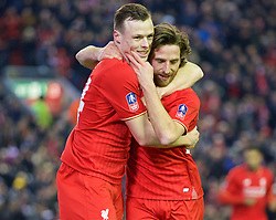 LIVERPOOL, ENGLAND - Wednesday, January 20, 2016: Liverpool's Joe Allen celebrates scoring the first goal against Exeter City with team-mate Brad Smith during the FA Cup 3rd Round Replay match at Anfield. (Pic by David Rawcliffe/Propaganda)