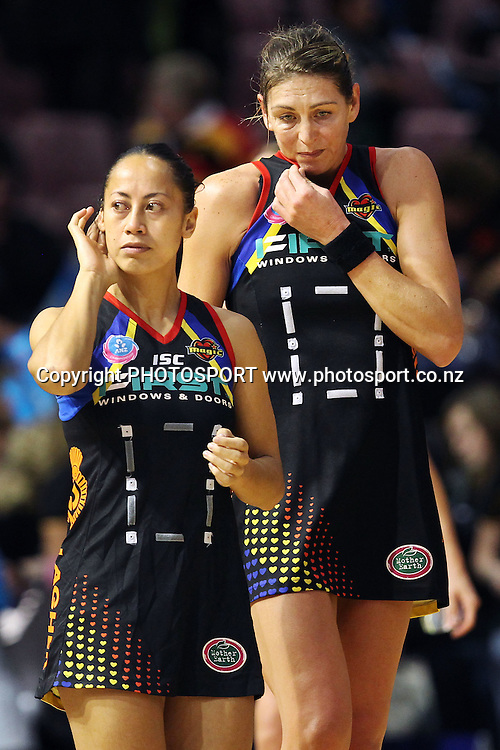 Magic's Irene Van Dyk and Frances Solia dejected. ANZ Netball Championship, Preliminary Final, Waikato/BOP Magic v LG Northern Mystics. Mystery Creek Events Centre, Hamilton, New Zealand. Sunday 15th May 2011. Photo: Anthony Au-Yeung / photosport.co.nz