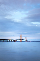 Mackinac Bridge at twilight, seen from Mackinaw City Michigan