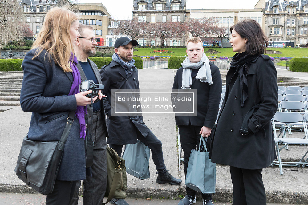 International architects fly in to Edinburgh for their first sight of West Princes Street Gardens as they compete to design a new venue to replace the Ross Bandstand.<br /> <br /> Chair Norman Springford and Project Manager David Ellis from the Ross Development Trust provide visiting teams with a tour of the Gardens and existing Bandstand site.<br /> <br /> A competition to replace the Ross Bandstand in the heart of Edinburgh's West Princes Street Gardens with a new landmark Pavilion has received worldwide interest from architects and designers.<br /> <br /> Entries from 125 teams spanning 22 countries and made of 400 individual firms have been narrowed down to seven finalists. <br /> <br /> The seven finalists will be invited to create concept designs for the £25m project brief, which includes a new landmark venue to replace the bandstand, a visitor centre and subtle updates to West Princes Street Gardens.<br /> <br /> Each of the finalist teams will be led by the following architects:<br /> <br /> - Adjaye Associates (UK)<br /> - BIG Bjarke Ingels Group (Denmark)<br /> - Flanagan Lawrence (UK)<br /> - Page \ Park Architects (UK)<br /> - Reiulf Ramstad Arkitekter (Norway)<br /> - wHY (USA)<br /> - William Matthews Associates (UK) and Sou Fujimoto Architects (Japan)<br /> <br /> Pictured: The team from Reiulf Ramstad Arkitekter