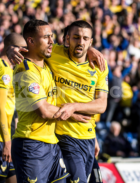Liam Sercombe of Oxford United celebrates giving Oxford the lead with Kemar Roofe of Oxford United during the Sky Bet League 2 match between Oxford United and Stevenage at the Kassam Stadium, Oxford, England on the 25th March 2016. Photo by Liam McAvoy.