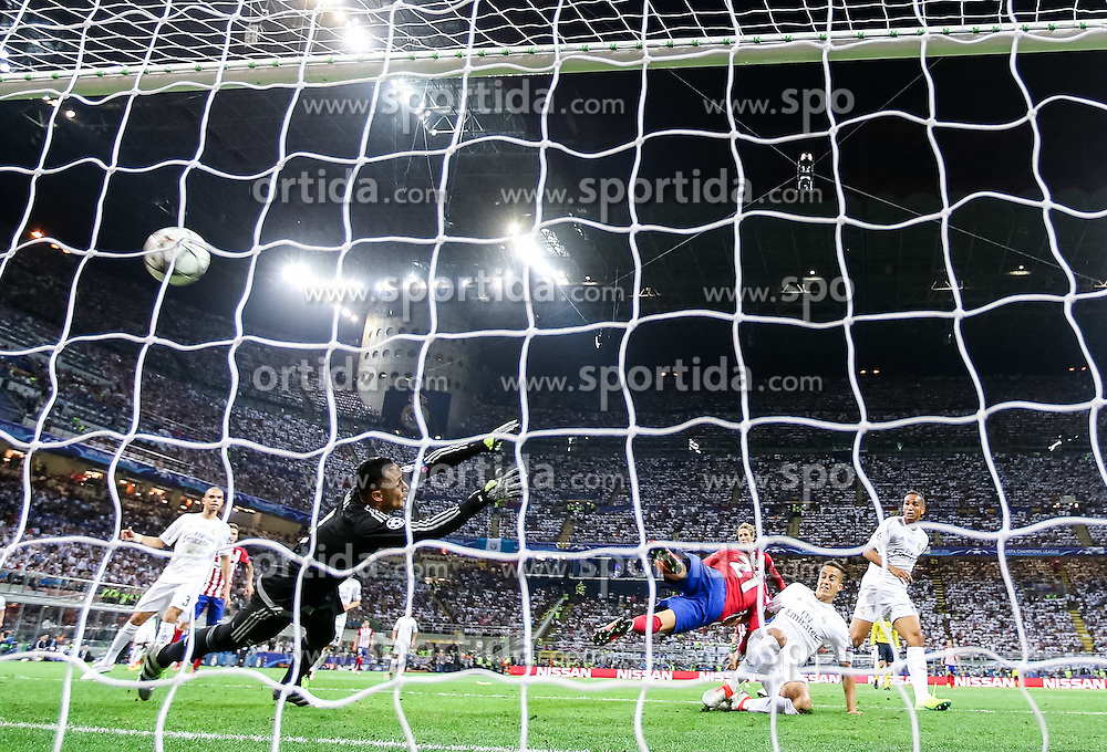 Keylor Navas of Real Madrid when Yannick Carrasco of Atlético scored first goal for Atletico during football match between Real Madrid (ESP) and Atlético de Madrid (ESP) in Final of UEFA Champions League 2016, on May 28, 2016 in San Siro Stadium, Milan, Italy. Photo by Vid Ponikvar / Sportida
