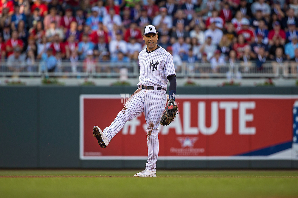 MINNEAPOLIS, MN- JULY 15: American League All-Star Derek Jeter #2 of the New York Yankees during the 85th MLB All-Star Game at Target Field on July 15, 2014 in Minneapolis, Minnesota. (Photo by Brace Hemmelgarn) *** Local Caption *** Derek Jeter
