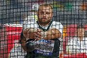 Yevgeniy Korotovskiy (Authorised Neutral Athlete), Hammer Throw Men - Final, during the 2019 IAAF World Athletics Championships at Khalifa International Stadium, Doha, Qatar on 2 October 2019.