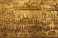 Laos, Province de Luang Prabang, ville de Luang Prabang, Patrimoine mondial de l'UNESCO depuis 1995, temple Wat Mai, detail du mur // Laos, Province of Luang Prabang, city of Luang Prabang, World heritage of UNESCO since 1995, temple Wat Mai, wall detail