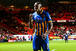 Omar Beckles of Shrewsbury Town celebrates after his side beat Charlton Athletic in the first leg of the League One Playoff Semi-Final - Mandatory by-line: Robbie Stephenson/JMP - 10/05/2018 - FOOTBALL - The Valley - Charlton, London, England - Charlton Athletic v Shrewsbury Town - Sky Bet League One