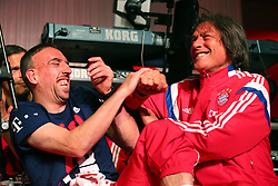 "17.05.2014, T Com, Berlin, GER, DFB Pokal, Bayern Muenchen Pokalfeier, im Bild Franck Ribery (L) of Bayern Muenchen jokes with the team doctor Hans-Wilhlem Mueller-Wohlfahrt Franck Ribery, Hans-Wilhlem Mueller-Wohlfahrt, // during the FC Bayern Munich ""DFB Pokal"" Championsparty at the T Com in Berlin, Germany on 2014/05/17. EXPA Pictures © 2014, PhotoCredit: EXPA/ Eibner-Pressefoto/ EIBNER<br /> <br /> *****ATTENTION - OUT of GER*****"