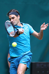 HALLE, June 23, 2018  Roger Federer of Switzerland hits a return during the semifinal match against Denis Kudla of the United States at the Gerry Weber Tennis Open on June 23, 2018 in Halle, Germany. Roger Federer won 2-0. (Credit Image: © Joachim Bywaletz/Xinhua via ZUMA Wire)