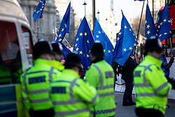 © Licensed to London News Pictures. 11/01/2019. London, UK. Police watch over Brexit demonstrations in Westminster. MPs are currently debating British Prime Minister Theresa May's EU withdrawal deal, with a vote on the deal due to take place on 15th January. Photo credit : Tom Nicholson/LNP