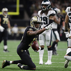 Jan 13, 2019; New Orleans, LA, USA; New Orleans Saints wide receiver Michael Thomas (13) reacts after running for a first down against the Philadelphia Eagles during the third quarter of a NFC Divisional playoff football game at Mercedes-Benz Superdome. Mandatory Credit: Derick E. Hingle-USA TODAY Sports