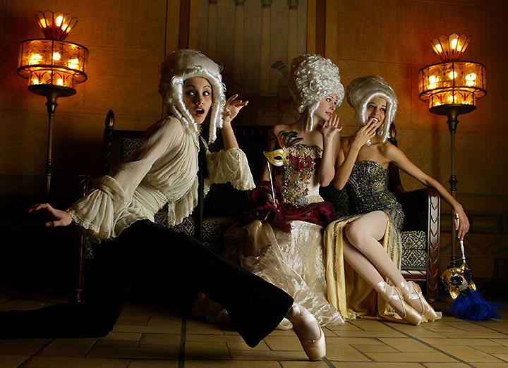 0601212-ATLANTA, GA: Atlanta ballet dancers model party dresses &  wearing Marie Antoinette-like wigs at the Fox theater. (PHOTO BY PHIL SKINNER/staff).