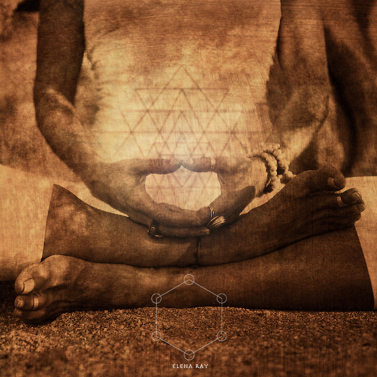 Detail of hands in meditation illustrating the energy of yantra in mudra.<br />