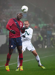 Jozy Altidore of USA vs Miso Brecko of Slovenia during friendly football match between National teams of USA and Slovenia, on November 15, 2011 in SRC Stozice, Ljubljana, Slovenia.  (Photo By Vid Ponikvar / Sportida.com)