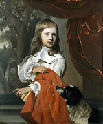 Portrait of a Young Boy with a Dog', 1658. Oil on canvas. Jacob van Loo (1614-1670) Dutch painter. Child Animal Pet Fidelity Fabric Velvet