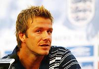 Photo: Chris Ratcliffe.<br />England Press Conference. 08/06/2006.<br />David Beckham addresses the media.