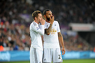 Kyle Bartley of Swansea City chats to Gylfi Sigurdsson (l).<br /> Barclays Premier league match, Swansea city v Crystal Palace at the Liberty stadium in Swansea, South Wales on Saturday 29th November 2014<br /> pic by Phil Rees, Andrew Orchard sports photography.