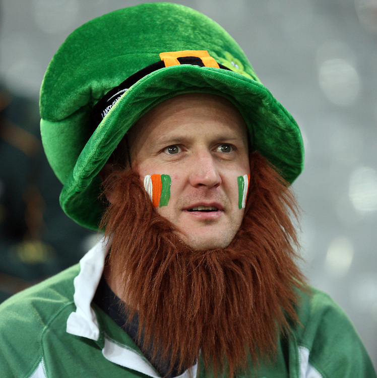 An Irish supporter at the Rugby World Cup pool match between Ireland and Italy at Otago Stadium, Dunedin, New Zealand, Sunday, October 02, 2011. Credit:SNPA / Dianne Manson.