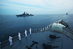 60098924<br /> Chinese naval soldiers stand in formation on Shenyang guided missile destroyer during a military review of the Joint Sea-2013 drill at Peter the Great Bay in Russia, July 10, 2013. The Joint Sea-2013 drill participated by Chinese and Russian warships concluded here in Peter the Great Bay in Russia on Wednesday, July 10, 2013.<br /> Photo by imago / i-Images