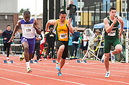 UVM's Kyle Chu competes in the 100 meter dash during the first day of the America East Track and Field Championship at the Frank H. Livak Track and Field Facility on Saturday May 3, 2014 in Burlington, Vermont. (BRIAN JENKINS, for the Free Press)