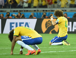 08.07.2014, Mineirao, Belo Horizonte, BRA, FIFA WM, Brasilien vs Deutschland, Halbfinale, im Bild Brazil's David Luiz (R) reacts as the final whistle sounds at the end of a semifinal match // during Semi Final match between Brasil and Germany of the FIFA Worldcup Brazil 2014 at the Mineirao in Belo Horizonte, Brazil on 2014/07/08. EXPA Pictures © 2014, PhotoCredit: EXPA/ Photoshot/ Liu Dawei<br /> <br /> *****ATTENTION - for AUT, SLO, CRO, SRB, BIH, MAZ only*****