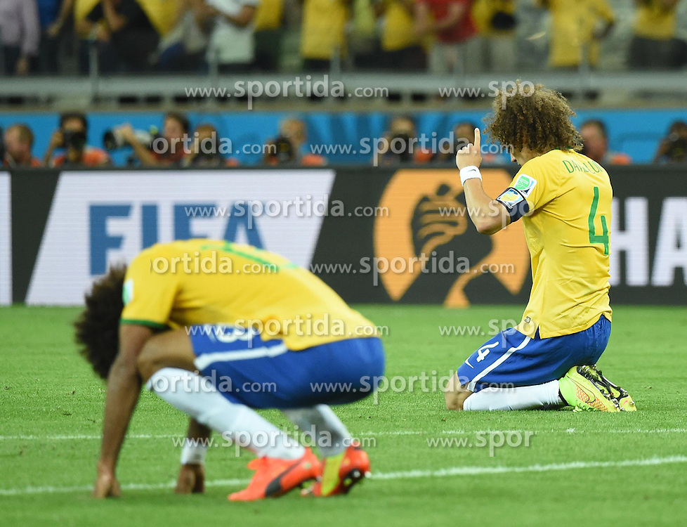 08.07.2014, Mineirao, Belo Horizonte, BRA, FIFA WM, Brasilien vs Deutschland, Halbfinale, im Bild Brazil's David Luiz (R) reacts as the final whistle sounds at the end of a semifinal match // during Semi Final match between Brasil and Germany of the FIFA Worldcup Brazil 2014 at the Mineirao in Belo Horizonte, Brazil on 2014/07/08. EXPA Pictures &copy; 2014, PhotoCredit: EXPA/ Photoshot/ Liu Dawei<br /> <br /> *****ATTENTION - for AUT, SLO, CRO, SRB, BIH, MAZ only*****