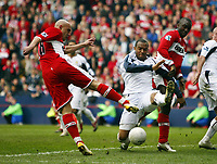 Photo: Chris Ratcliffe.<br /> Middlesbrough v West Ham United. The FA Cup, Semi-Final. 23/04/2006.<br /> Massimo Maccarone of Middlesbrough has a shot blocked by Danny Gabbidon of West Ham right at the death