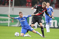 23.11.2011, BayArena, Leverkusen, Germany, UEFA CL, Gruppe E, Bayer 04 Leverkusen (GER) vs Chelsea FC (ENG), im Bild Raul Meireles (Chelsea #16) (L) gegem Stefan Kiessling (Leverkusen #11) // during the football match of UEFA Champions league, group E, between Bayer Leverkusen (GER) and FC Chelsea (ENG) at BayArena, Leverkusen, Germany on 2011/11/23.EXPA Pictures © 2011, PhotoCredit: EXPA/ nph/ Mueller..***** ATTENTION - OUT OF GER, CRO *****