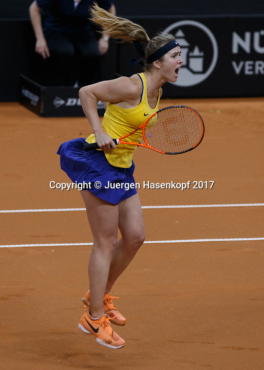GER-UKR, Deutschland - Ukraine, <br /> Porsche Arena, Stuttgart, internationales ITF  Damen Tennis Turnier, Mannschafts Wettbewerb,<br /> ELINA SVITOLINA (UKR) jubelt nach ihrem Sieg,Jubel, Emotion,