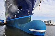 Nederland, Urk, 25-8-2011In de haven ligt een schip, de Atlantic, waarvan de romp is gebouwd in polen, en wat hier wordt afgebouwd.