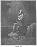 St. John at Patmos [Revelation 1:9] From the book 'Bible Gallery' Illustrated by Gustave Dore with Memoir of Dore and Descriptive Letter-press by Talbot W. Chambers D.D. Published by Cassell & Company Limited in London and simultaneously by Mame in Tours, France in 1866