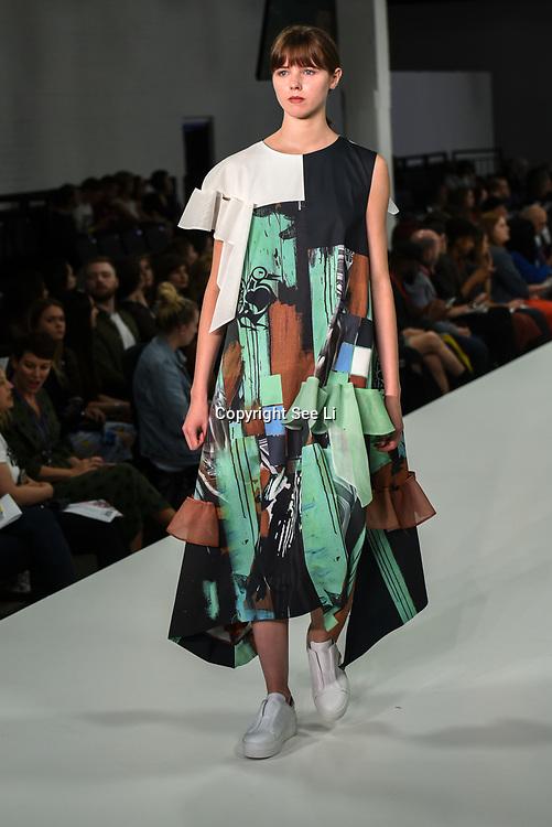 Designer Suzy Gallina showcases lastest collection of Bath Spa University at the Graduate Fashion Week 2018, 4 June 4 2018 at Truman Brewery, London, UK.