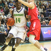 UNCW's Malik Pugh drives against Liberty's Ethan Layer Wednesday December 17, 2014 at Trask Coliseum on the campus of UNCW in Wilmington, N.C. (Jason A. Frizzelle)