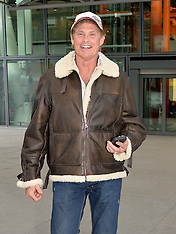 MAR 06 2014 David Hasselhoff arrives at Heathrow Airport