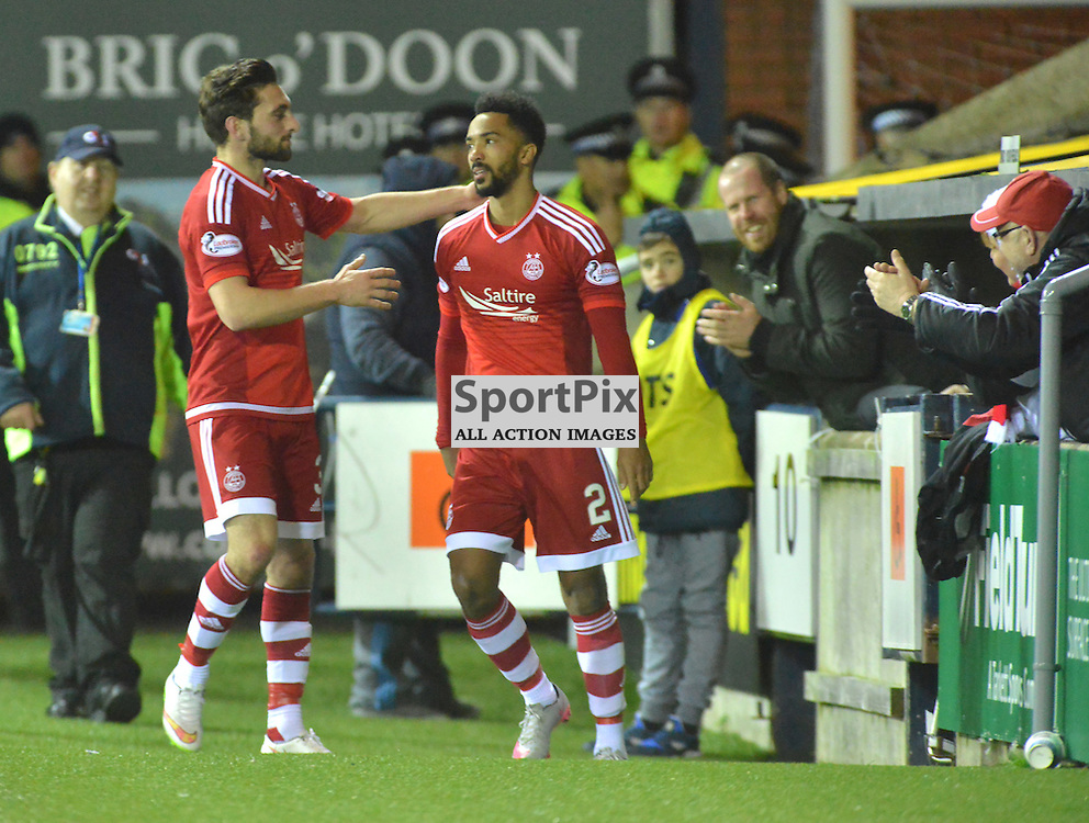 Shaleum Logan of Aberdeen celebrates the goal he scored to put the Dons 4-0 up BILLY WHITE | SportPix.org.uk